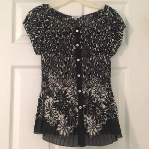 NICOLA small accordion stretch blouse EUC